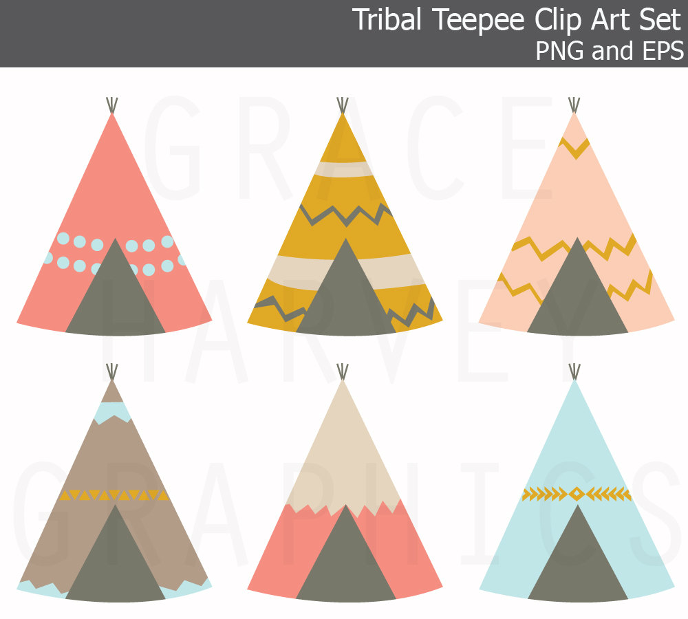 Teepee Clip Art Eps Small Commercial Use By Gracegraphicdesign