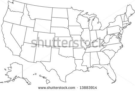 United States Of America Map In Vector Design   Stock Vector