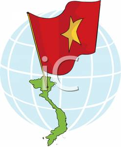 Vietnam With National Flag   Royalty Free Clipart Picture