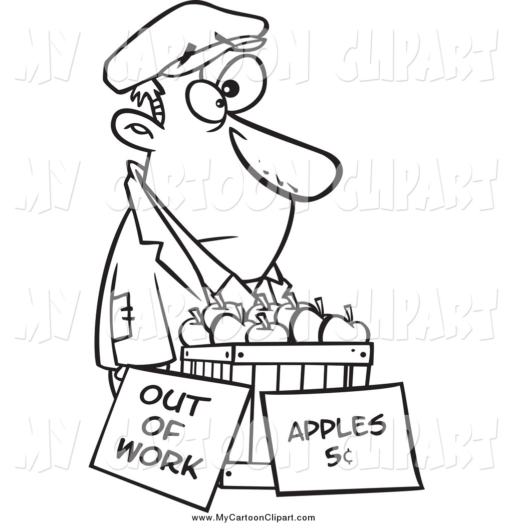 Black And White Homeless Man Trying To Sell Apples By Ron Leishman
