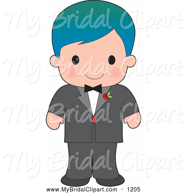 Bridal Clipart Of A Handsome Blue Haired White Boy Wearing A Tuxedo By