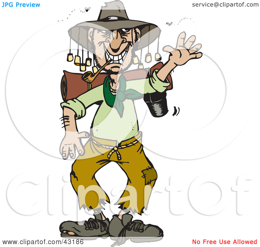 Clipart Illustration Of A Stinky Homeless Australian Man Waving By