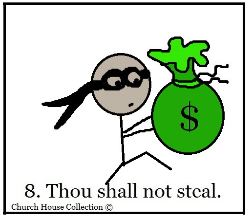 For Kids For Ten Commandments  Theif Burglar Stealing Money Bag Snacks