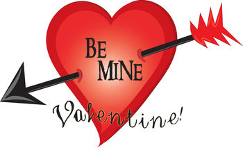 Of A Heart With An Arrow Through It That Says Be Mine  This Clipart