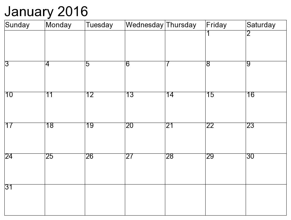 Printable January 2016 Calendars