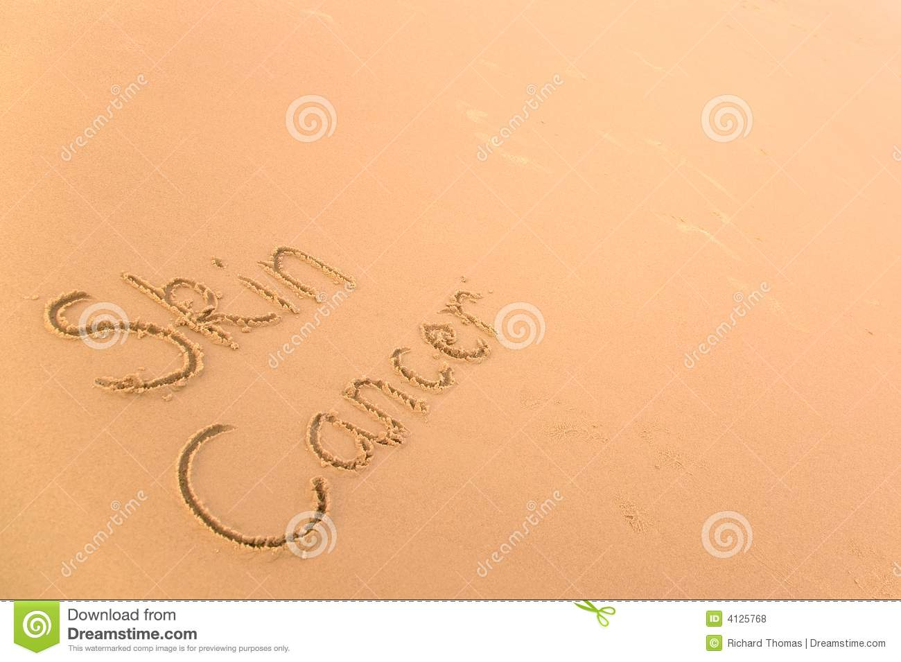 Skin Cancer Written In Sand On A Golden Beach A Harsh Reminder Of How