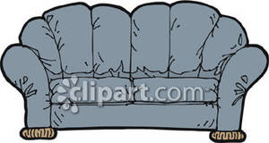 Blue Overstuffed Couch   Royalty Free Clipart Picture