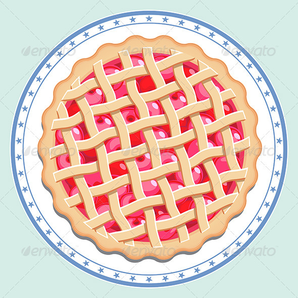 Cherry Pie On A Plate   Food Objects