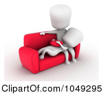 Clip Art Illustration Of A 3d Ivory White Couple Relaxing On A Couch