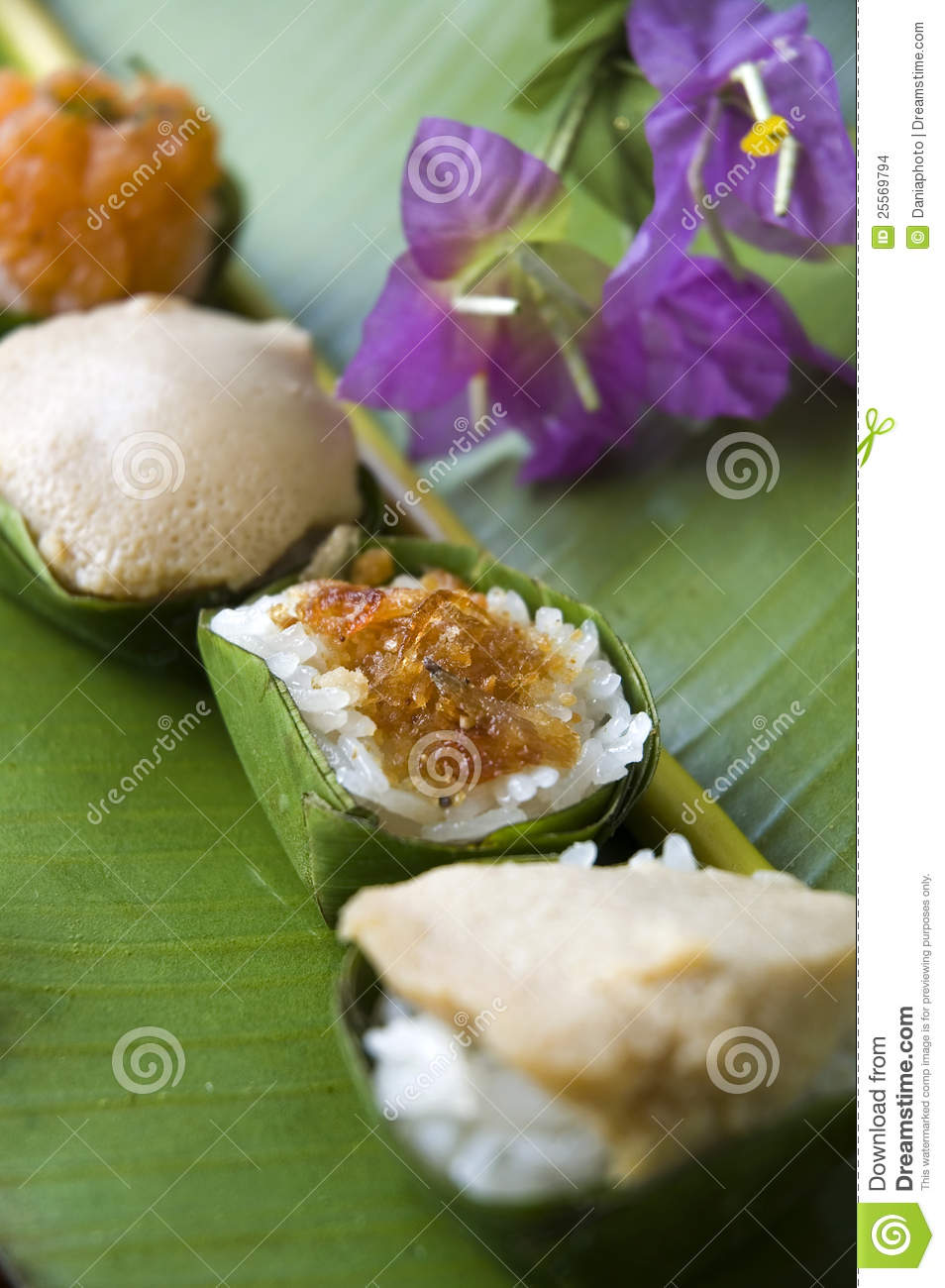 Close Up Cup Of Sweet Sticky Rice With Nature Background