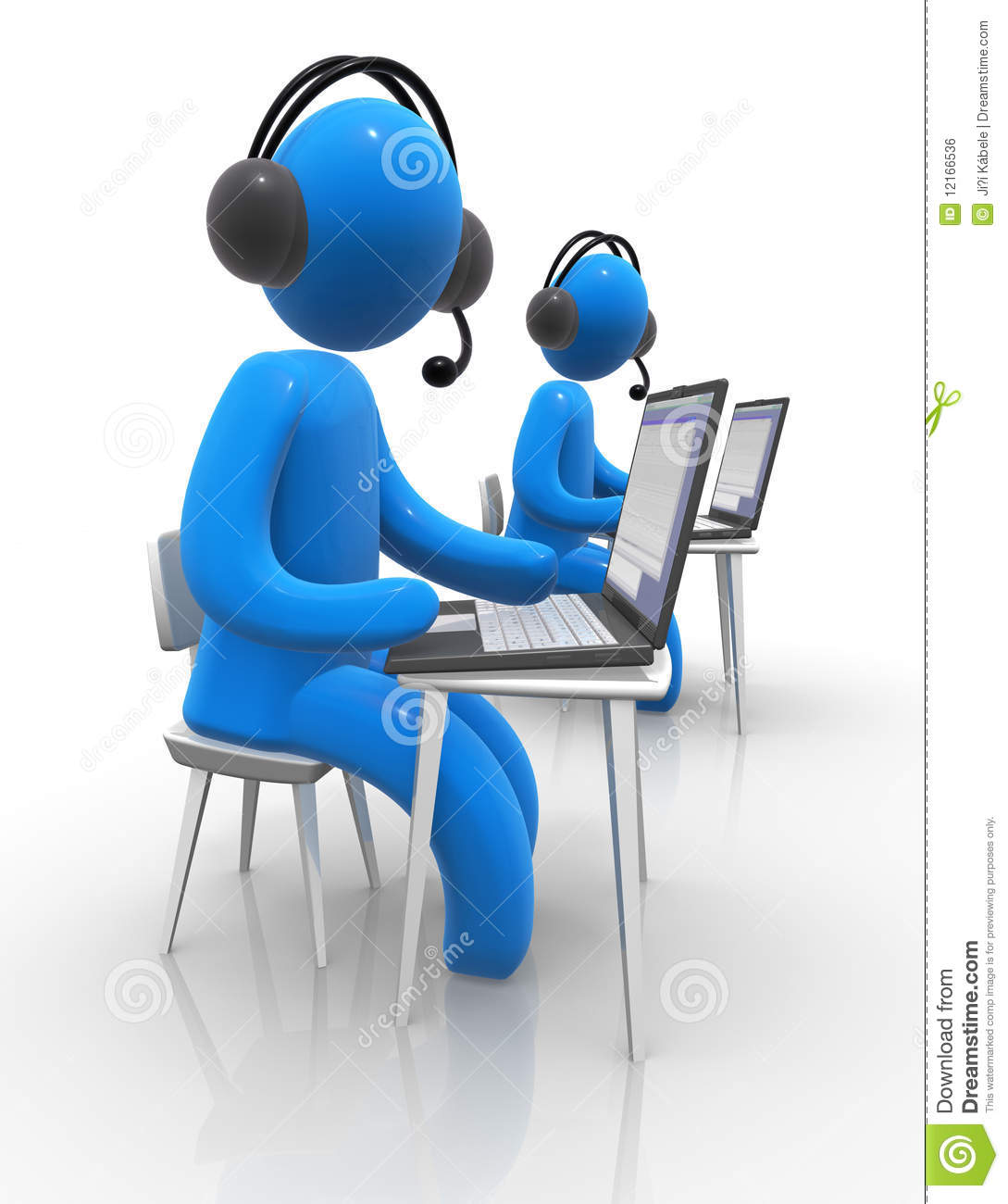 Concept Of Call Centre Multimedia Learning Or Voip Communication