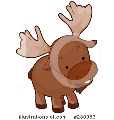 Cute moose head clipart