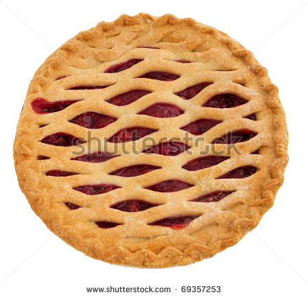 One Whole Cherry Pie Over White  Top Down View    Stock Photo