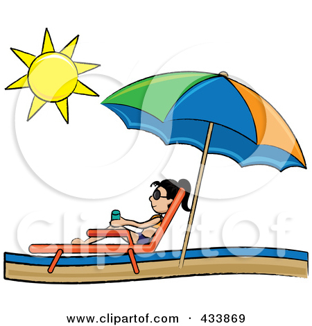 Relaxing In A Lounge Chair On The Shore Under Beach Umbrella Clipart