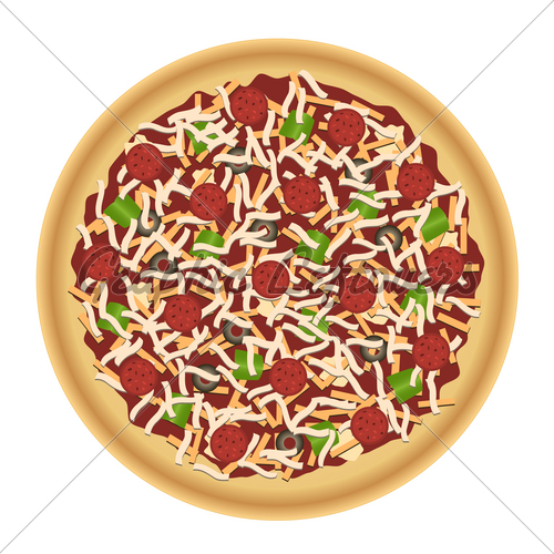 Top View Of Whole Pizza With Pepperoni Golden