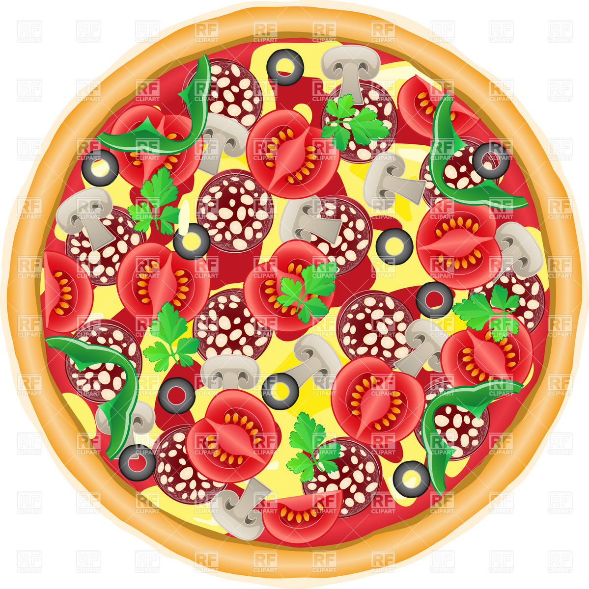 Whole Pie Pizza Top View 19670 Download Royalty Free Vector Clipart