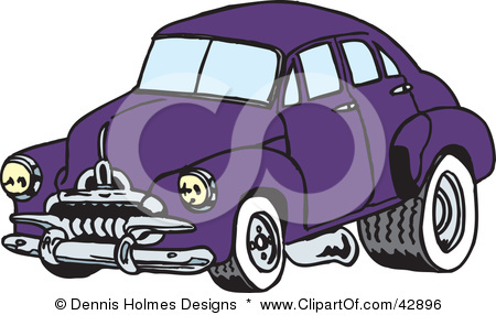 42896 Clipart Illustration Of A Vintage Purple Car With Drag Racing