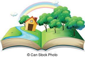 Book With A Story Of A House At The Forest Vectors Illustration
