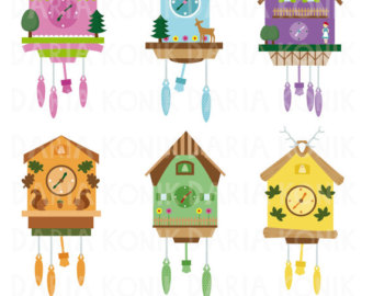 Clip Art Set Cuckoo C Locks Clipart German Folklore Black Forest