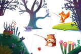 Clip Art Set  Nature Stuff  Forest Plant Tree Animal Bear Fox Flower