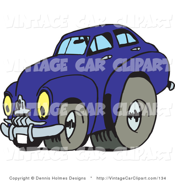 Clipart Of A Vintage Blue Car With Drag Racing Tires And Eye Like