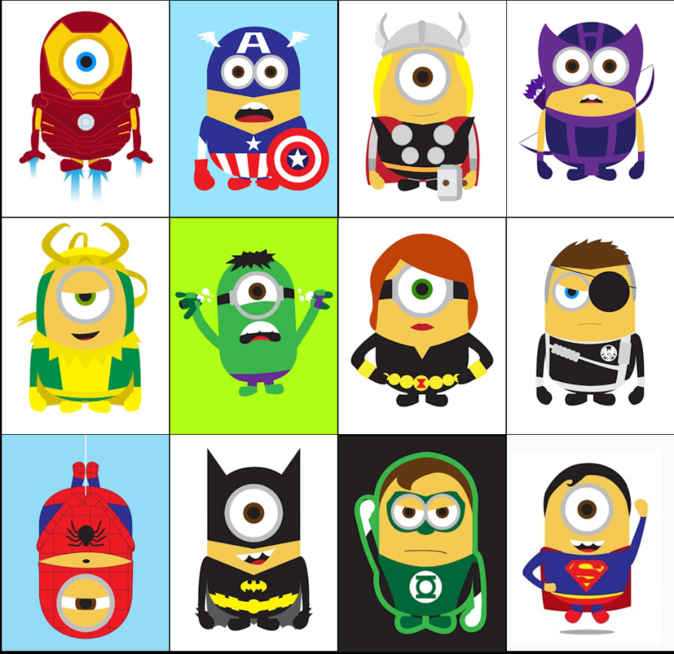 Despicable Me Minions As Superheroes Clipart