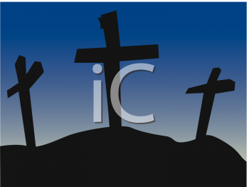 Easter Clip Art Picture Of Three Crosses On Calvary Hill