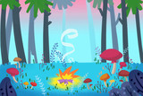 Forest Campfire  Realistic Fantastic Cartoon Style Artwork   Story