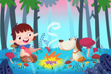 Illustration  Illustration For Children  Forest Barbecue With Best