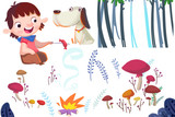 Ilustraci N  Clip Art Set  Boy Dog Campfire And Nature Plants