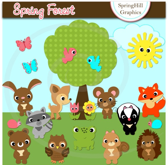 Instant Download Forest Animals Spring Digital Clip Art Web Design C
