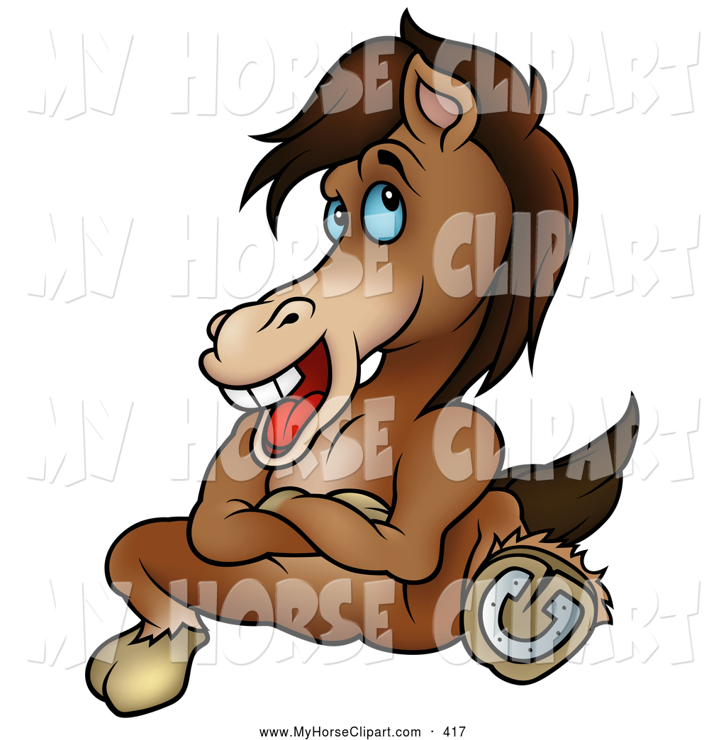 Larger Preview  Clip Art Of A Cartoon Stubborn Brown Horse Kicking Out