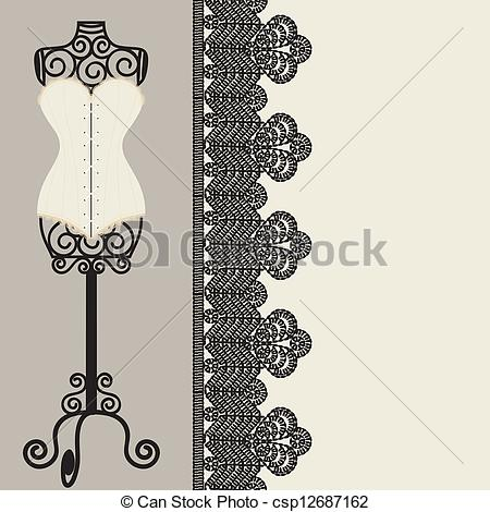 Of Corset   Antique Corset With Lacing Csp12687162   Search Clipart