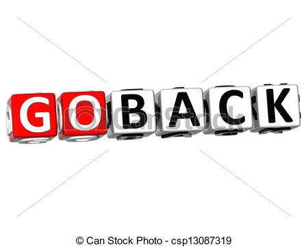 Stock Illustration   3d Go Back Button Click Here Block Text   Stock