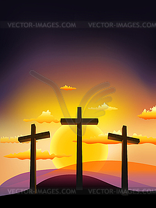 Three Crosses On The Calvary At Sunset   Vector Clipart