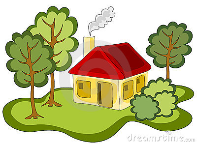 Vector Illustration Of Yellow Red Roofed Country House In The Forest