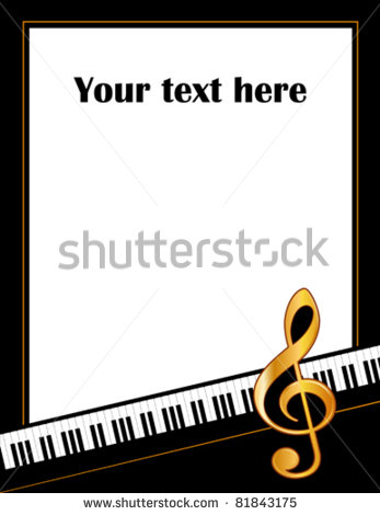 Vector   Music Poster  Piano Keyboard Gold Treble Clef White