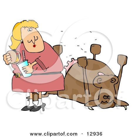 12936 Woman Eating A Hamburger By A Dead Cow Clipart Illustration Jpg