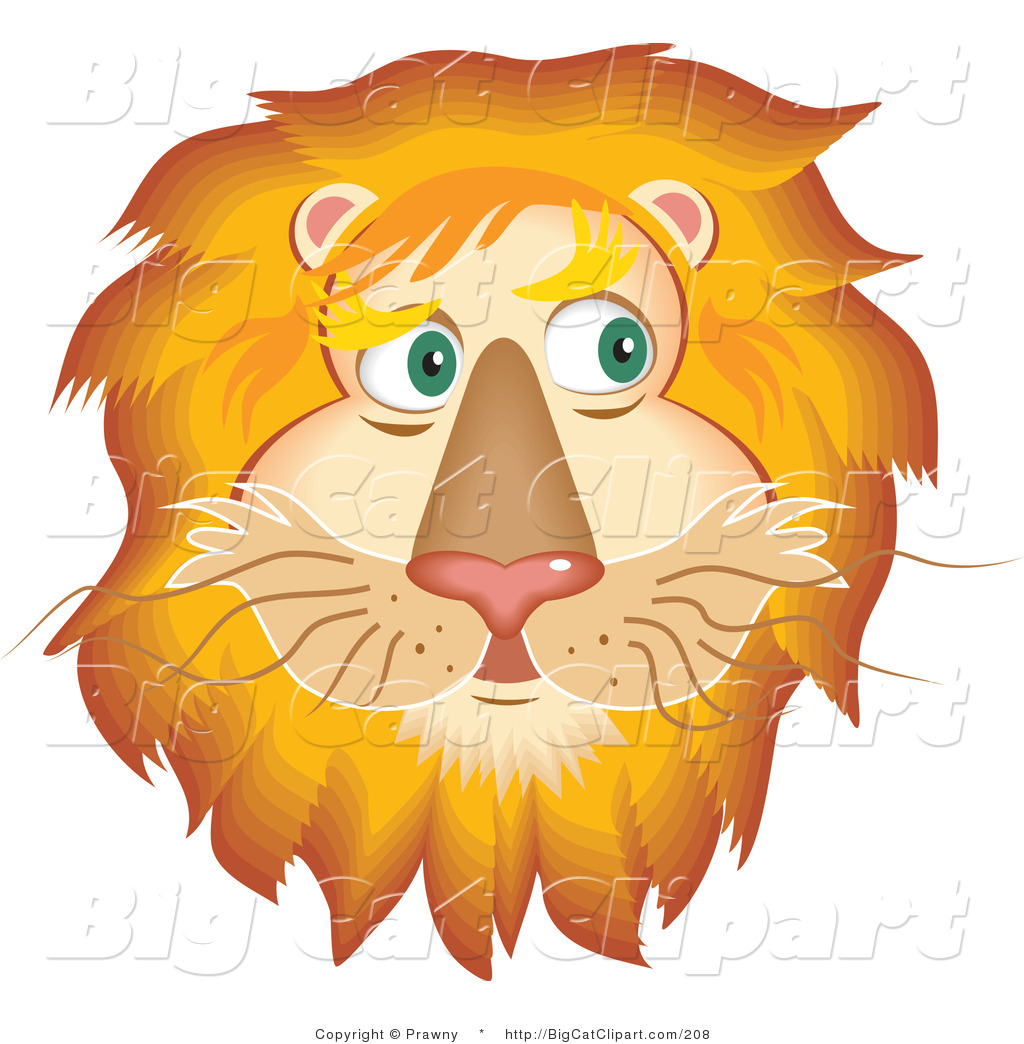 Big Cat Vector Clipart Of A Handsome Fluffy Lion Face With A Golden