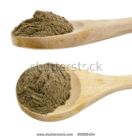 Black Pepper Powder Spice On Wooden Spoon Isolated On White   Stock
