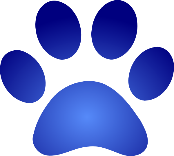 Blue Paw Print With Gradient Clip Art