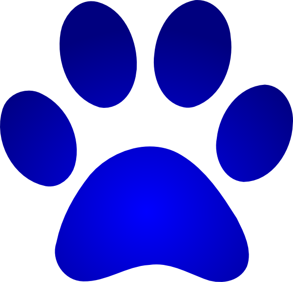 Blue Paw Print With Gradient Clip Art At Clker Com   Vector Clip Art