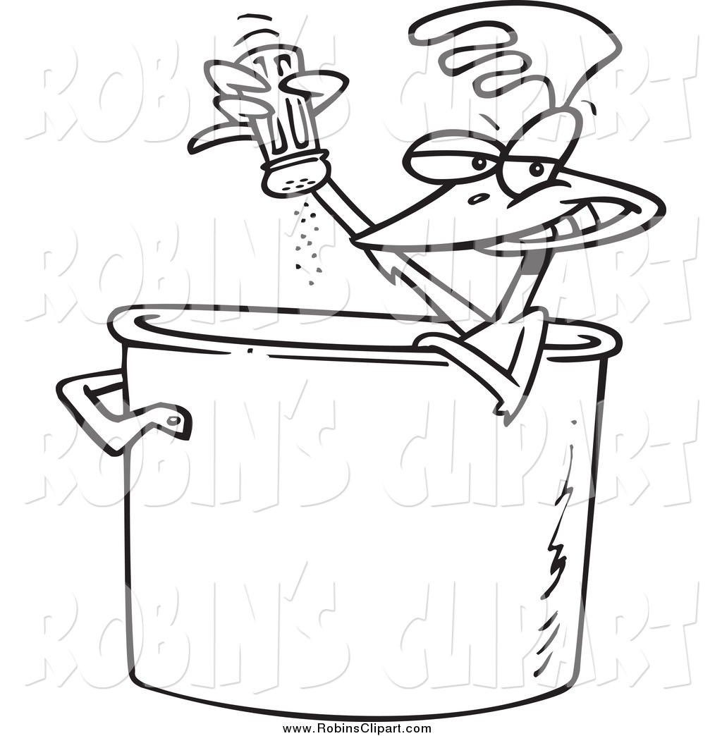 Clip Art Of A Black And White Chicken Seasoning Himself In A Soup Pot