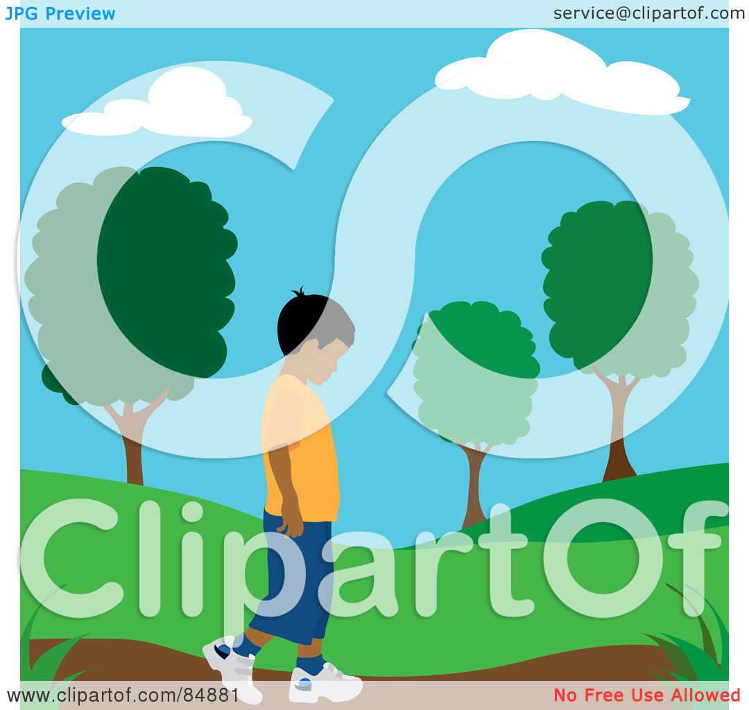 Clipart Illustration Of A Lonely Hispanic Boy Walking On A Park Path