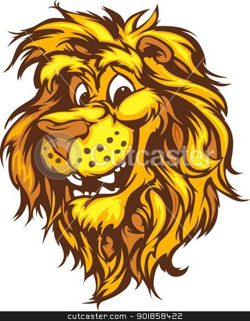 Clipart Lion Mascot With Cute Face Cartoon Vector Image By Chromaco