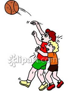 Kids Playing Basketball   Royalty Free Clipart Picture