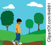 Of A Lonely Hispanic Boy Walking On Park Path By Pams Clipart