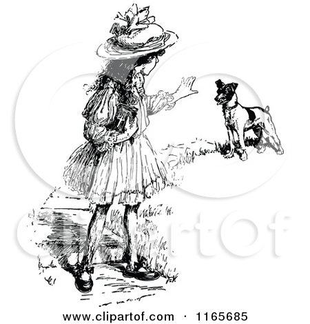 Retro Vintage Black And White Teaching A Dog To Stay By Prawny Vintage