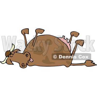 Royalty Free  Rf  Clipart Illustration Of A Dead Cow With Her Legs Up