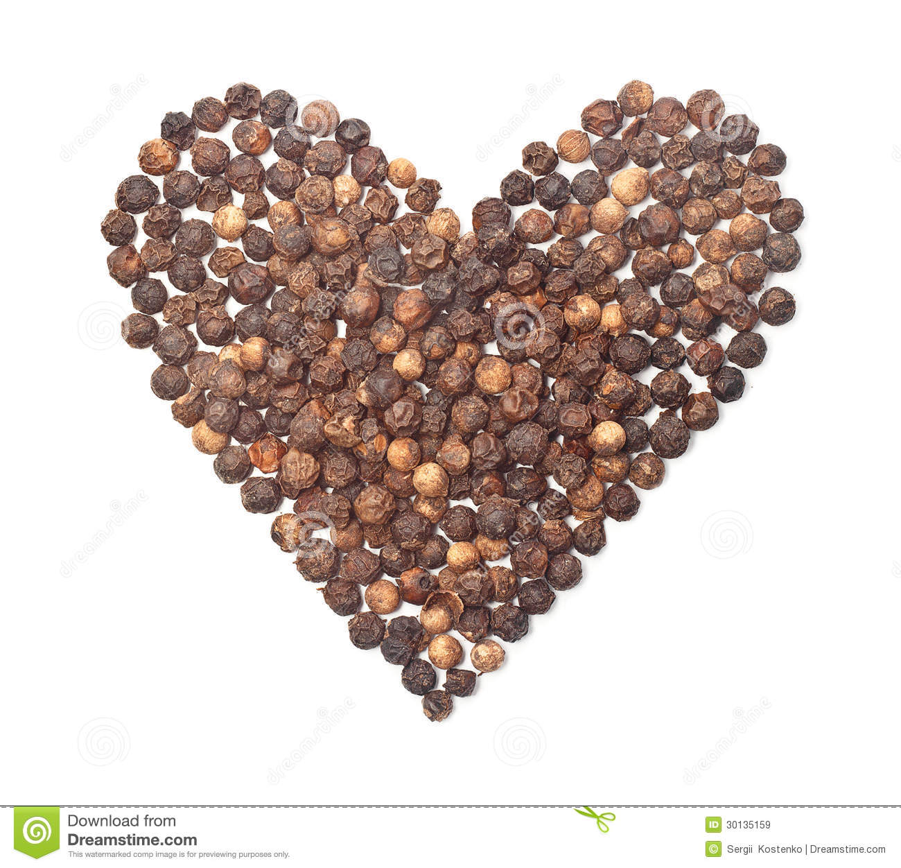 Spices Black Pepper Heart Shape On White Royalty Free Stock Images